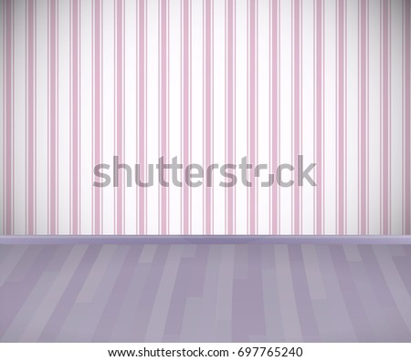 empty room with wooden floor or parquet and striped pink wallpaper vector
