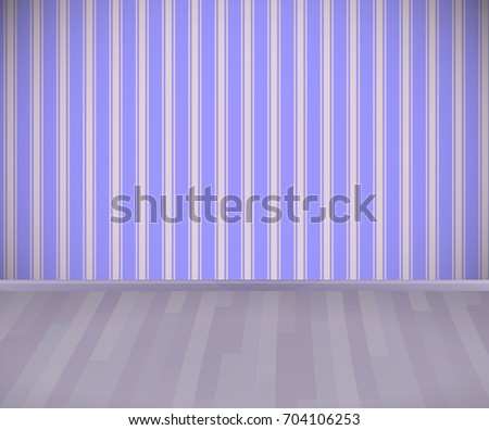 empty room with wooden floor or parquet and striped wallpaper vector