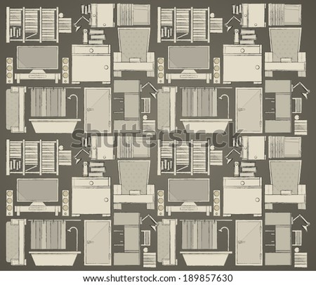 Background for apartment. Pattern with gray icons for apartment on dark gray background. - stock vector