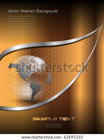 Background for business, gold with earth globe, vector. - stock vector