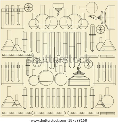 Background for chemistry. Pattern with contour of chemical lab ware on light background. - stock vector