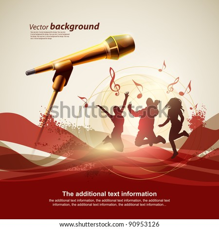 Background for design with a microphone and concert light - stock vector