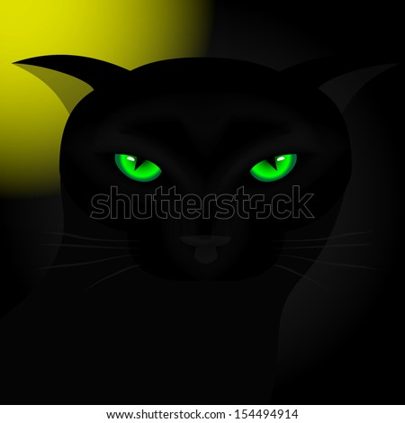 Background for Halloween. Black cat with green eyes at night under the moon. Vector illustration. - stock vector