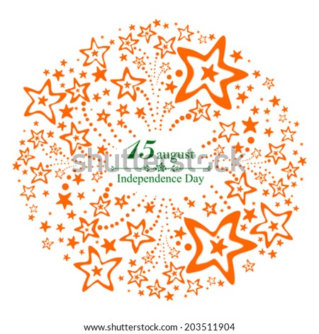 Background for Indian Independence Day with text 15 August, firework and place for your text. vector illustration  - stock vector