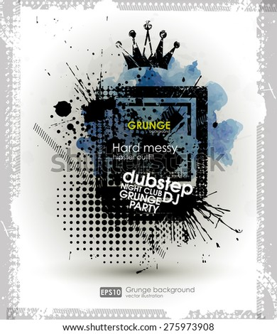 Background for poster in grunge style. Grunge print for t-shirt. Abstract texture background for party - stock vector