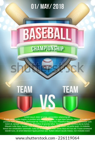 Background for posters baseball stadium game announcement. Editable Vector Illustration. - stock vector