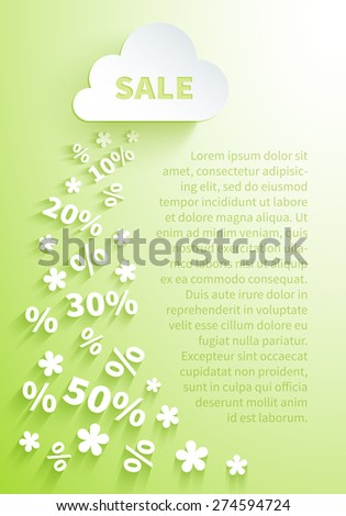 Background for seasonal promo actions with a white paper cloud and snowfall of percent and discounts on a light green background for spring holidays sales promotion - stock vector