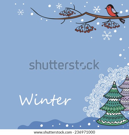 background for winter postcard with bullfinch and trees - stock vector