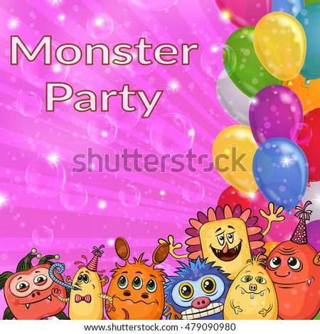 Background for Your Holiday Party Design with Different Cartoon Monsters, Colorful Illustration with Cute Funny Characters, Bright Balloons and Transparent Soap Bubble. Eps10 Vector