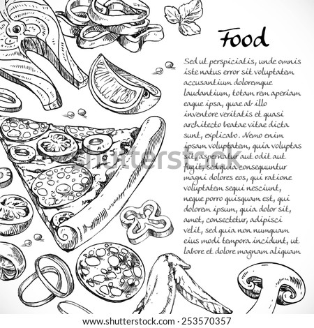 Background for your text with doodles on the subject of food - pizza, vegetables, seafood