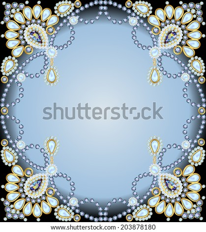 background  frame with ornaments made of precious stones and pearls - stock vector
