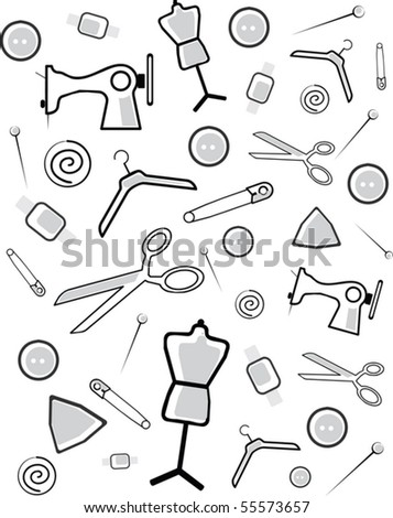Background from accessories for cutting and sewing - stock vector
