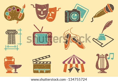 Background from icons of arts - stock vector