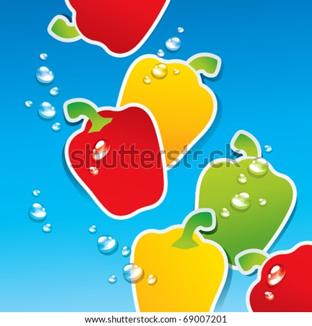 Background from multicolored paprika in the water with the air bubbles. Vector illustration. - stock vector