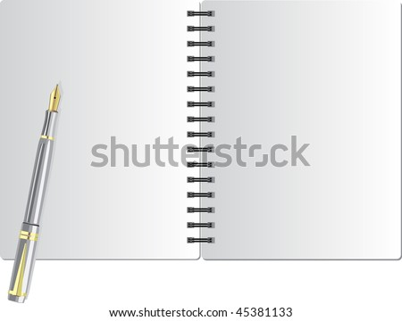 Background from notebook on the black spring and white pen - stock vector