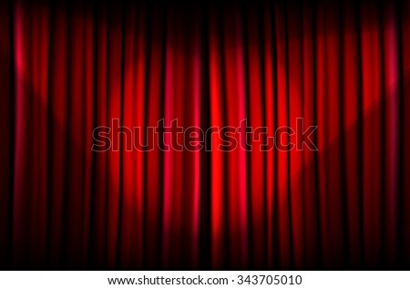 Background from red curtain with beams of light - vector illustration
