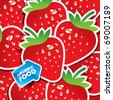 Background from strawberries with an arrow by organic food. Vector illustration. - stock vector