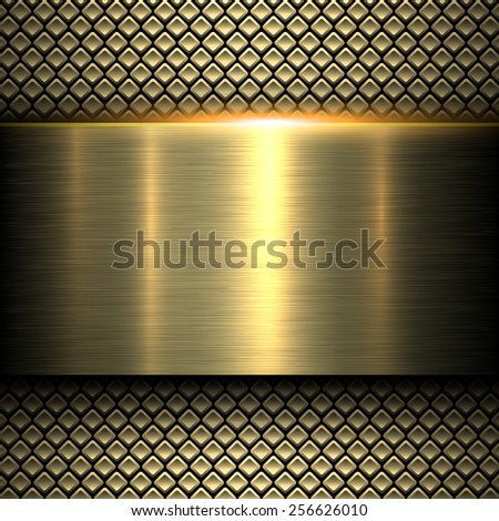 Background gold metal texture, vector illustration. - stock vector