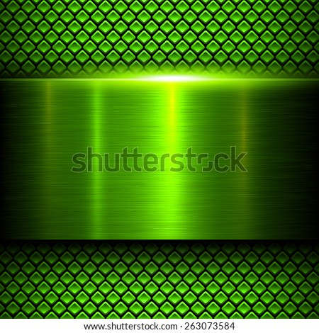 Background green metal texture, vector illustration. - stock vector