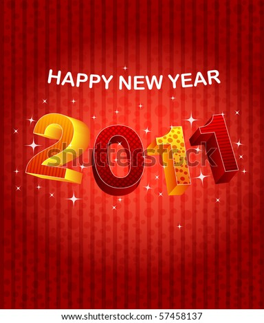 background Happy new year 2011. Vector - stock vector