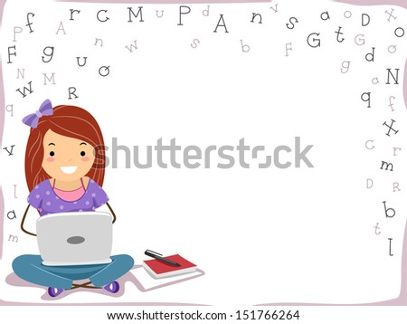 Background Illustration Featuring a Girl Using a Laptop - stock vector