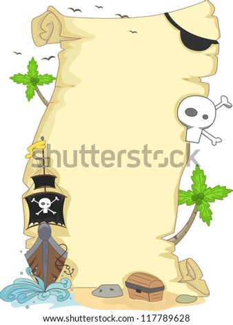 Background Illustration Featuring a Scroll with a Pirate Theme - stock vector