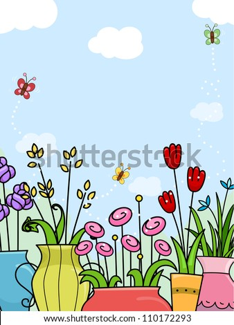 Background Illustration Featuring Coloful Flowers Planted in Vases and Pots