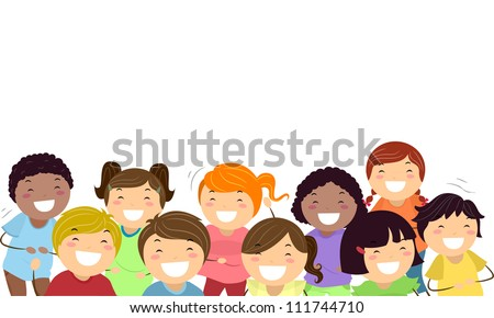 Background Illustration Featuring Kids Laughing Out Loud - stock vector