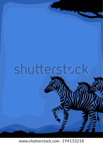 Background Illustration Featuring Zebras Framed by the Silhouette of a Savanna - stock vector