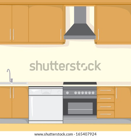 Background illustration of a modern house kitchen with appliances in brown color style