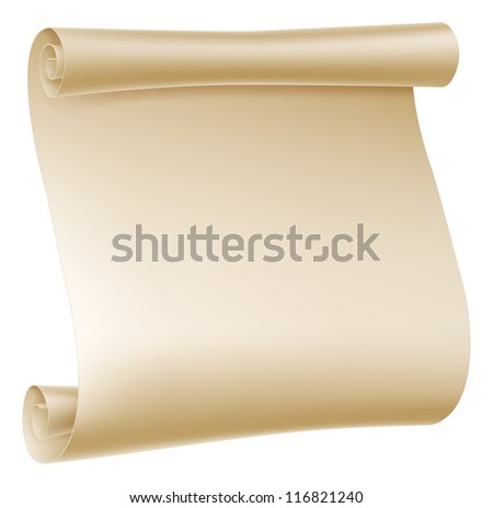 Background illustration of an old rolled up paper scroll - stock vector
