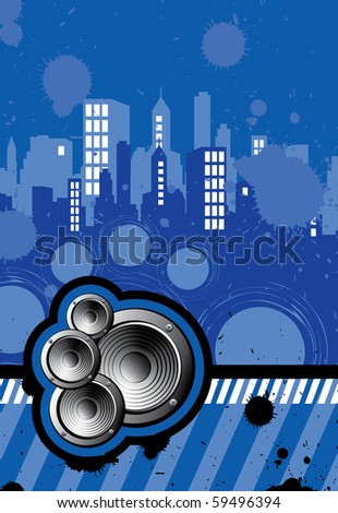 Background illustration of city music - stock vector