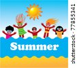 Background - illustration of summer vacation. Beach activities. - stock vector