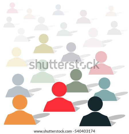 Background image made up of people of different layouts of color, size and remoteness. Vector Image.