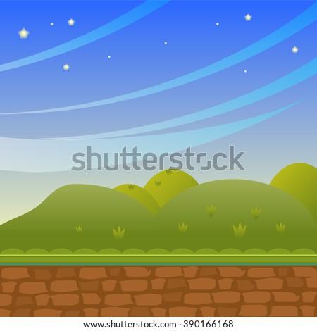 Background in cartoon style. Illustration: Cartoon Style. Nature Topic. Scene / Wallpaper / Background Design - stock vector