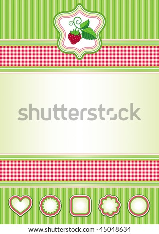 Background in red and green and labels. All elements can be moved and used separately if needed.