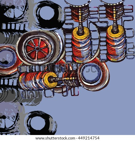 Background in steampunk style - stock vector
