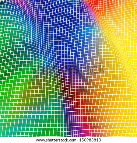 Background in the form of a wave from multi-coloured squares. No Meshes. EPS8