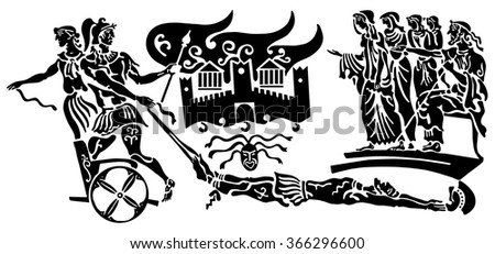 Background in the Greek style. The crowd of unhappy women and elders, the attack on the castle. The kidnapping, the capture of the. Military looting and murder. - stock vector