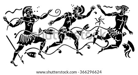 Background in the Greek style. Three warriors swimming underwater with spears surrounded by fish and algae. - stock vector