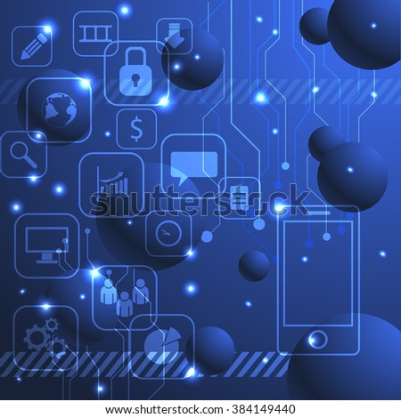Background interface of the buttons in the form of a touch screen with icons eps 10 illustration - stock vector