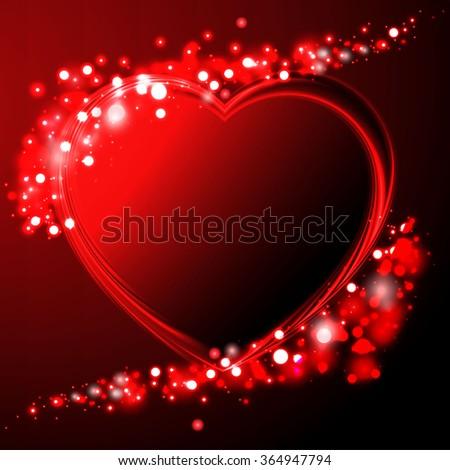 Background is  neon of Valentine`s heart. - stock vector
