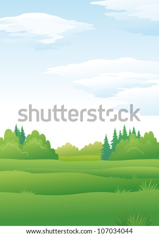 Background landscape, summer green forest and blue sky with clouds. Vector - stock vector