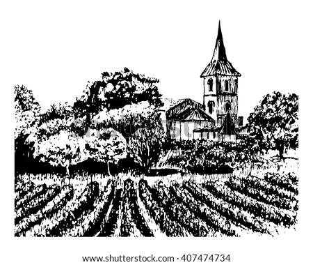 background landscape view of the vineyards, a winery and old stone building with a tower, graphic hand drawn ink sketch vector illustration - stock vector