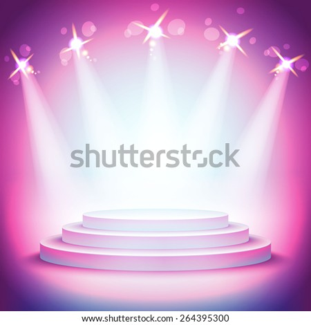 Background Lights over a pedestal for your business product - stock vector
