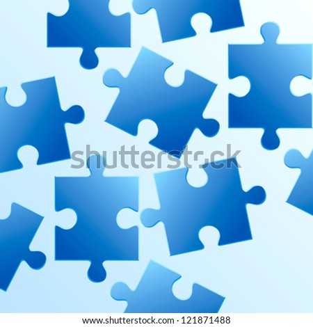 background made from blue puzzle pieces - stock vector