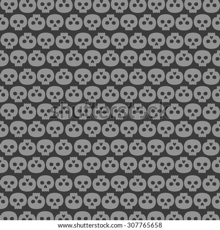 background made of human skulls in rows - stock vector