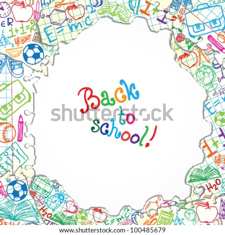 Background made of papers with colorful school symbols