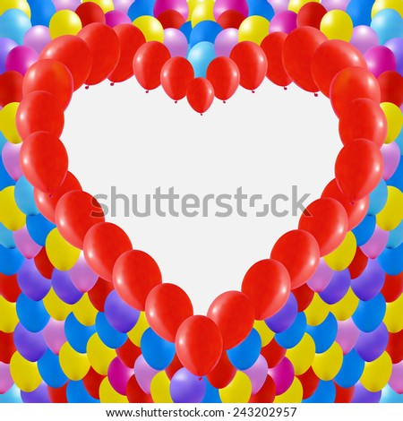 Background made of Red balloons in a heart shape. Isolated