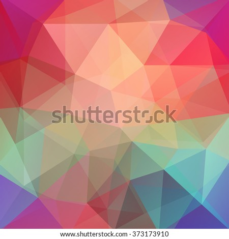 Background made of triangles. Square composition with geometric shapes. Eps 10. Orange, pink, red, green, blue colors.  - stock vector